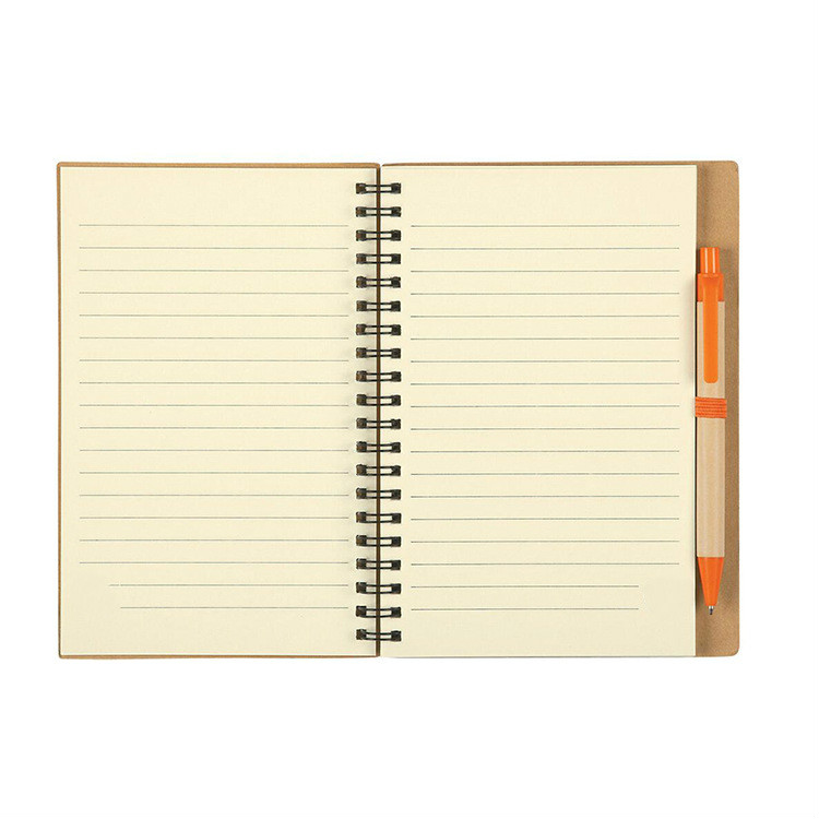 A5 Kraft Hardcover Grid Dotted Spiral Notebook With Pen Attached