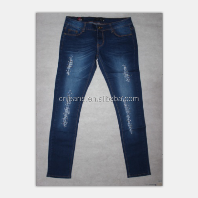 GZY Guangzhou stock lots sexy latest fashion top design ladies jeans