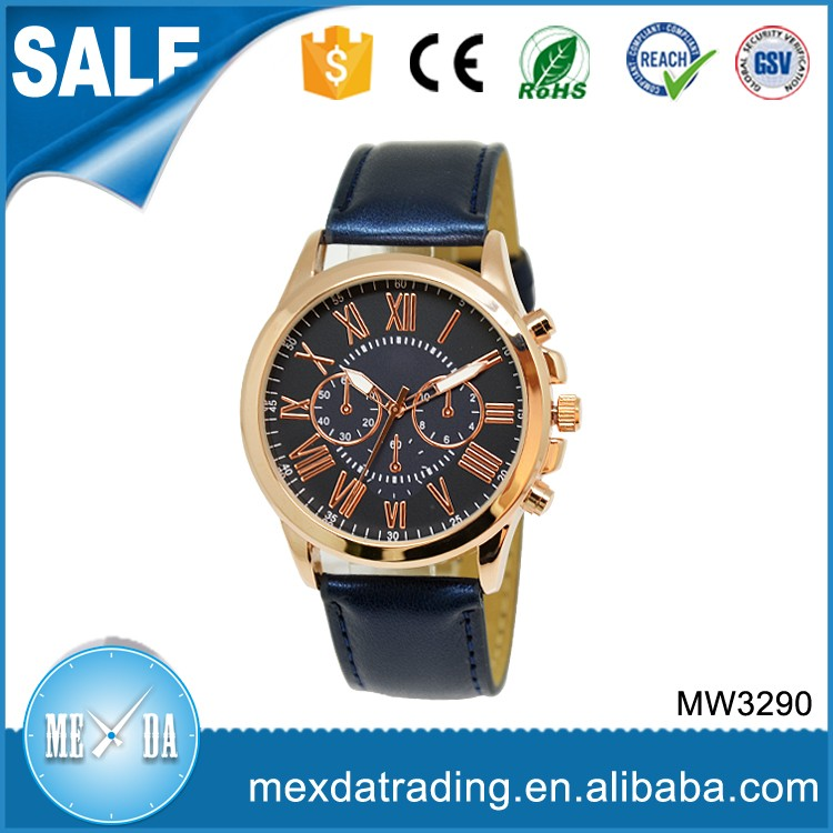 Fashion design gold plated case genuine leather wrist watches for men