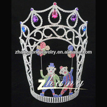 Large colored amuzing characteristic pageant crowns for sale
