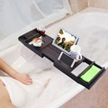 Expandable Bamboo Bathtub Caddy Adjustable Wooden Serving Tray