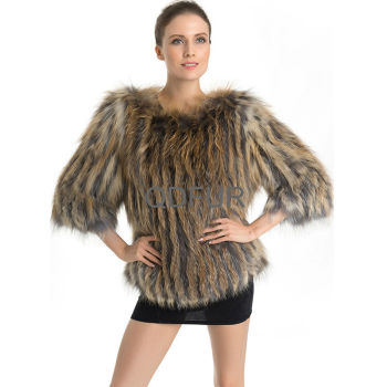 QD70705 Winter Jacket Women Fox Fur with 3/4 Sleeves Korean Style Jacket