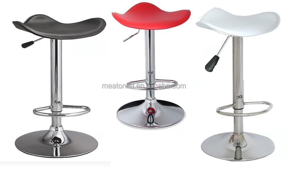 Ajustable Bar Furniture Lift Bar Stool With Metal Stand / pvc bar chair metal bar stool / Leather Swivel Kitchen Stool CL - 1311