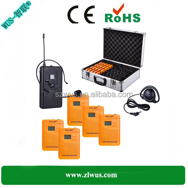 Hot sell wireless tour guide system/radioguide/audio guides for visiting, AAA battery model WUS800R, 200-300meters