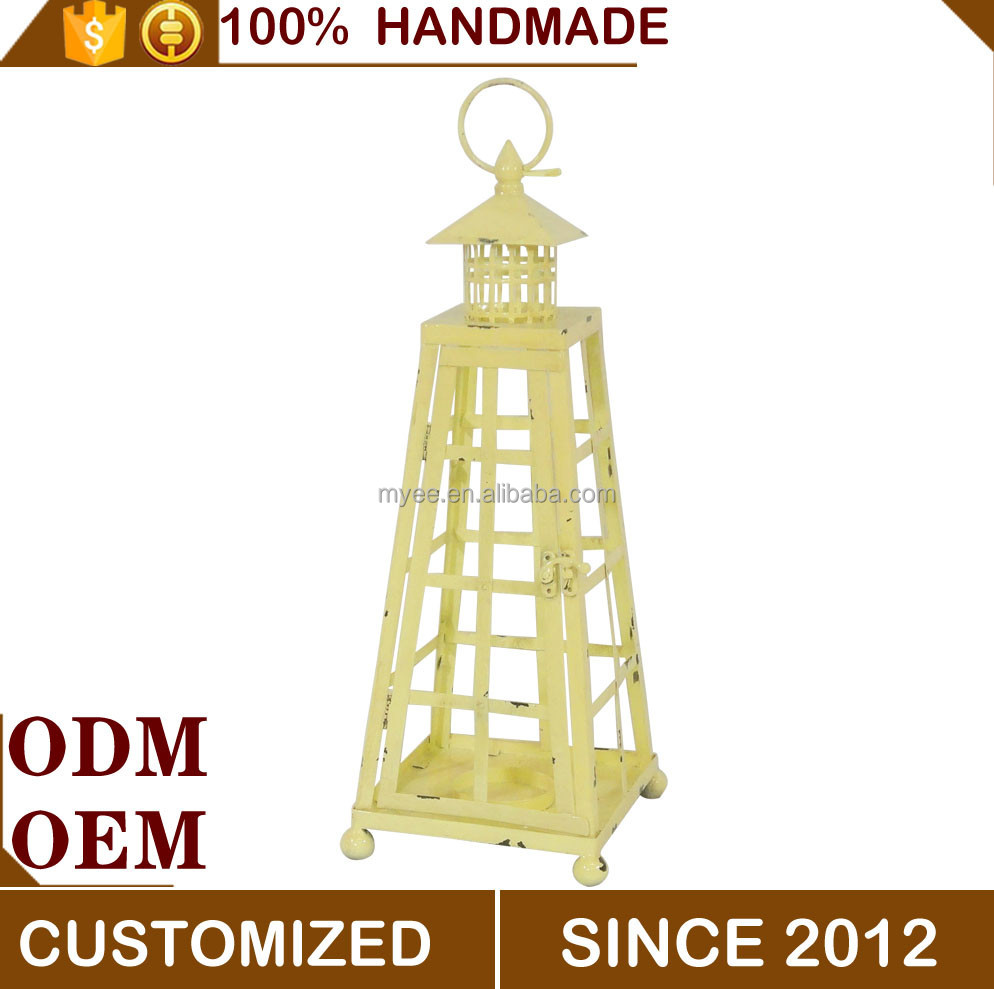 Wholesale Yellow Hand Held Small Metal Iron Indian Custom Puzzle Lantern