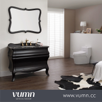 VUMN Home 39 inch Bath Vanity with Black Quartz Marble Top, Black