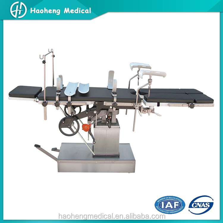 Stainless Steel Adjustable Mobile Manual Surgical Operation Table
