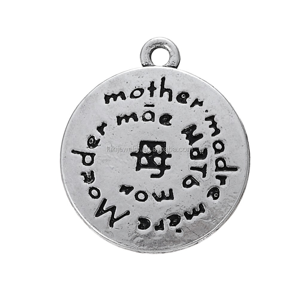 Hot Sale Zinc Alloy Antique Silver Engraved Letters for Mother's Gift Diy Disc Charms