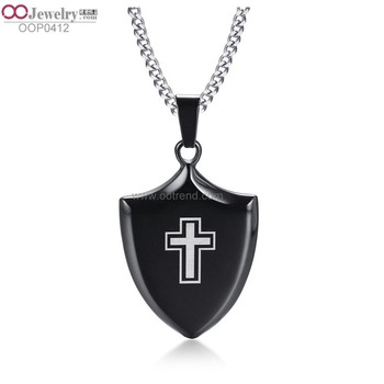 2018 best selling Shield shape cross style black color charms