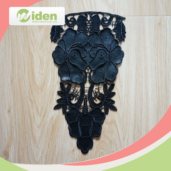 Polyester and PU Black Color Fancy Embroidery Lace Collar
