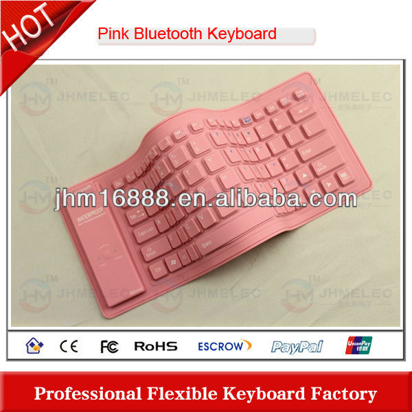 wireless bluetooth pink leather case keyboard case for ipad