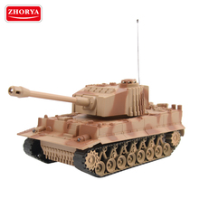 Zhorya military series desert color plastic toy 4ch rc tank with sound and lights