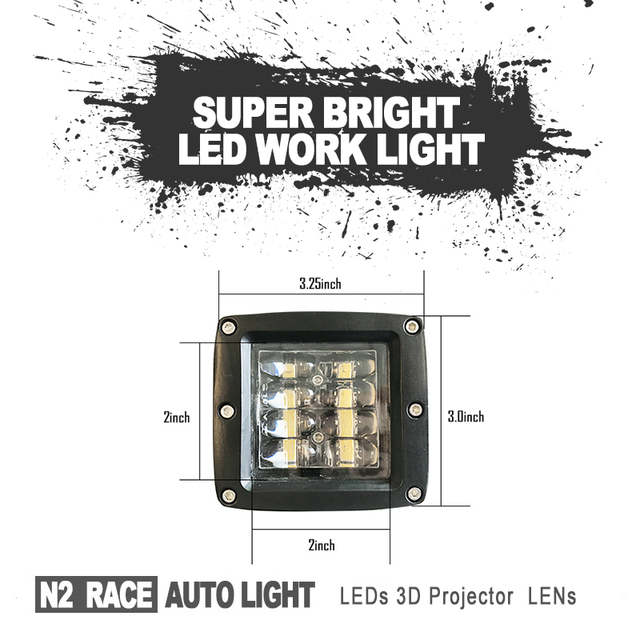 LED CUDE LIGHT 27W LED Work Light With Magnetic Base ATV Parts Truck,Boat,Mine,Motorcycle Accessories