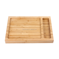 new design custom bamboo food serving tray with knife organizer