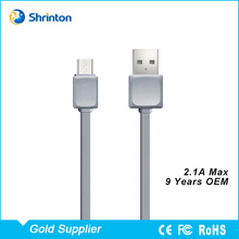 OEM Flat Ribbon 1M Fast Charge USB to Micro USB Cable RoHS Factory in Shenzhen