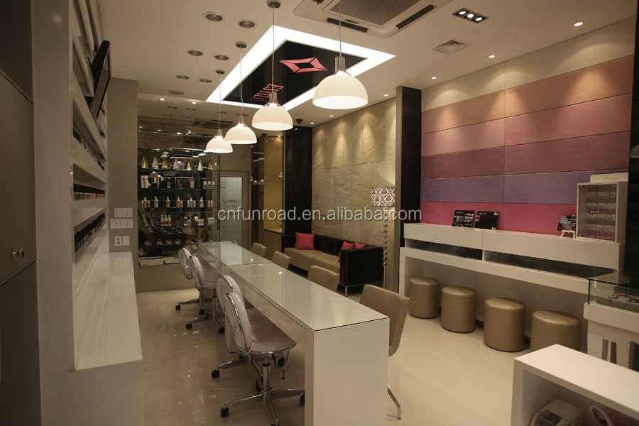 Cheap Elegant Beauty Wood Nail Salon Station With Nail Desk And