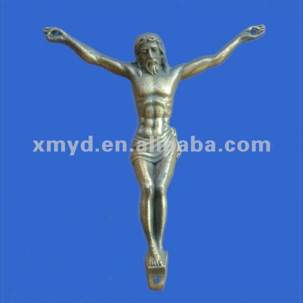 Metal Jesus Figure Sculpture As Metal Religious Crafts For Wall Mounting or Hanging, Vintage Bronze Color