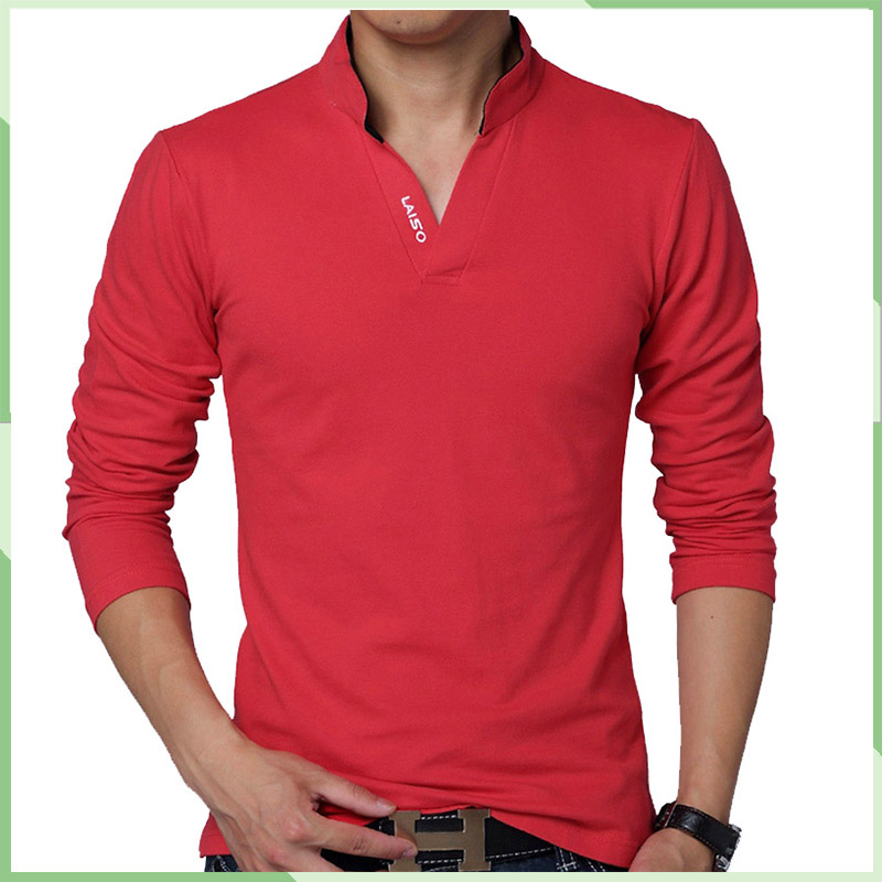 China factory V neck Blank Good Quality Long Sleeve Cotton T Shirt In Bulk