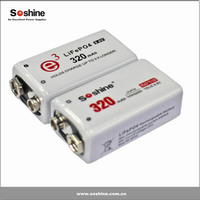 Soshine new coming 9.6V 320mAh high power 6F22 9V rechargeable battery