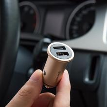 dual usb ports aluminum alloy material 3.1A mobile phone car charger, car battery charger for iphone/android phones