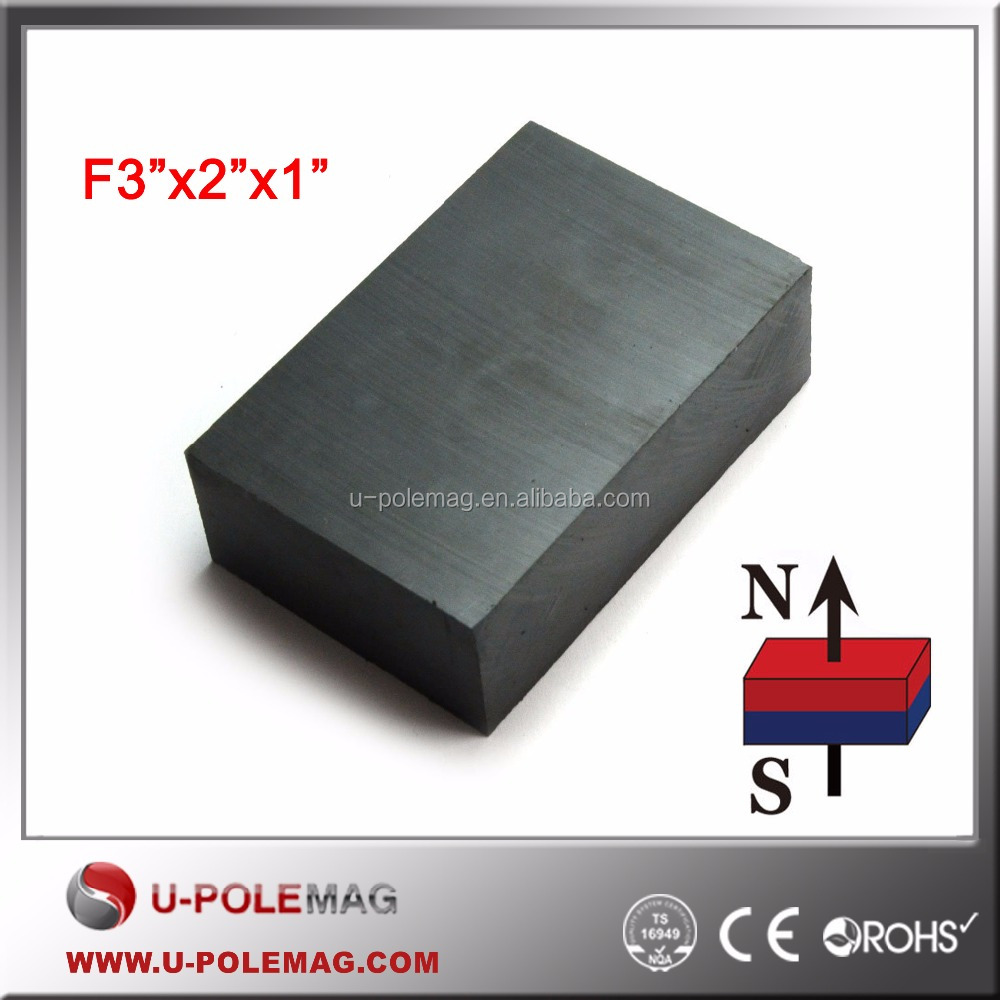 "3"" x 2"" x 1"" C8 Large Hard Block Ferrite Magnet, Ceramic Block Magnet"