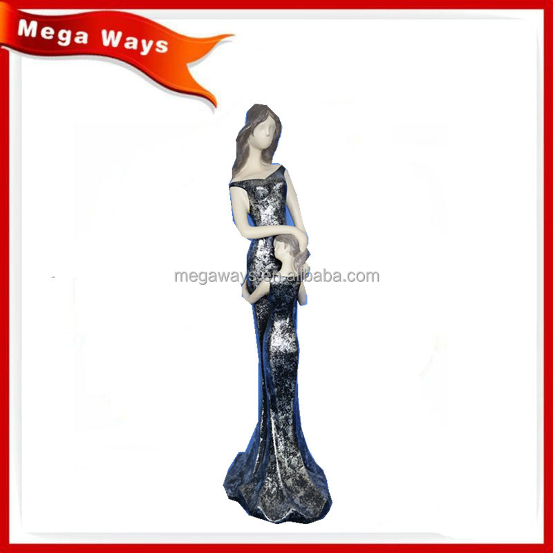 Resin thin young girl stone statue