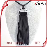 Latest Fashion Styles Unisex Long Black Leather Necklace with Stainless Steel Clasp