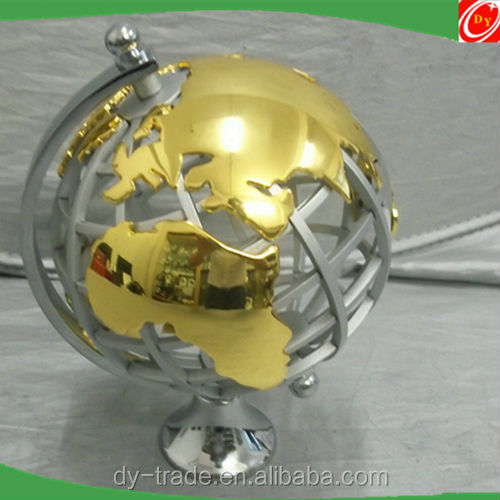 indoor office golden collectible steel world globe ball sculpture