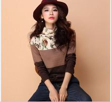 New style autumn winter women's floral pullover sweater slim turtleneck flowers printing sweater