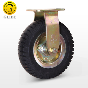 Fixed heavy duty rubber industrial castors with locks Double ball bearings 8 10 Inch pneumatic caster and wheel
