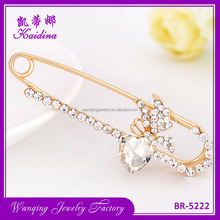 Fancy brooch pin gold plated crystal handmade rhinestone flower brooches for women