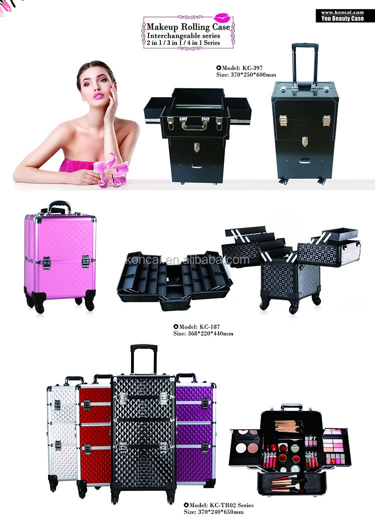 Professional hard Aluminum Rolling mobile travel case makeup case with 360 wheels with telescopic Handles & different sections