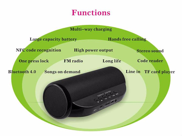 FM Radio CSR4.0 and NFC TF Card Portable Music Mini Bluetooth Speaker with Hands Free Calling