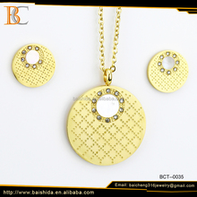 Wholesale Alibaba 18k Gold Plated Stainless Steel Fashion Luxury Dubai Gold Jewelry Set for Wedding