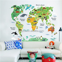 ZY037 removable pvc colorful world map wall stickers animal jungle wallpaper room decor 3d home decoration for new year