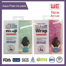 Rehabilitation New Aqua Peas Hot/cold Neck Wrap with Plush backing microwave neck wrap gel neck wrap water gel beads