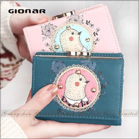 2015 Coin Purse Cartoon Print Embroidered PU Leather 3 Fold Mini Wallet