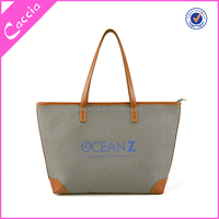 2015 hotsale logo printed tote bag, custom tote bag with leather handle
