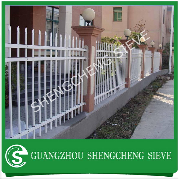 Easily assembled decorative iron white picket fencing