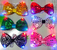 2016 New designs hot selling Halloween party cosplay LED flashing light up sequin bow tie for kids
