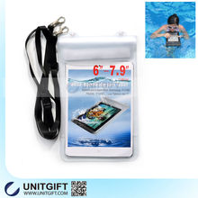 Waterproof cell phone neck pouch with strap for ipad mini