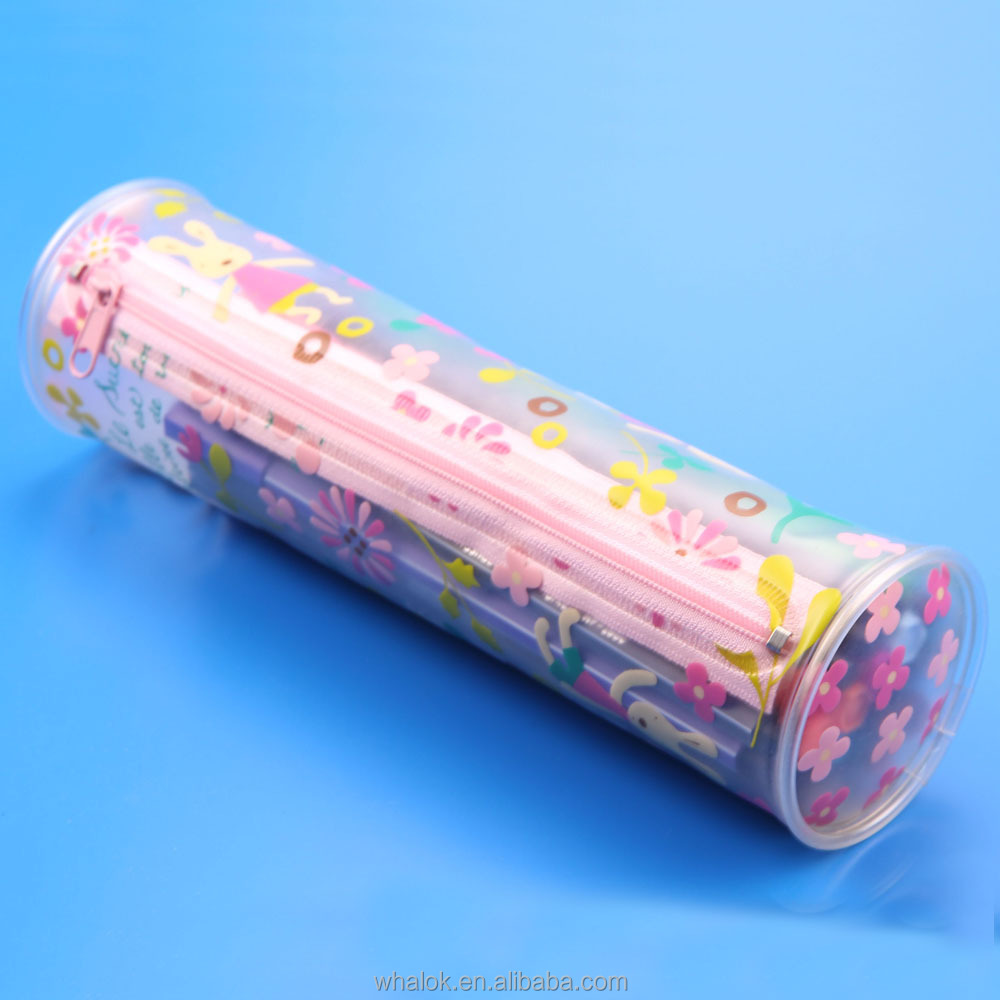 clear transparent pvc plastic pen cylinder shape pencil case bag