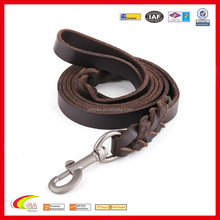 Wholesale Braided Full Grain Genuine Leather Dog Leash for Large Dogs