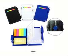 sticky notepad with plastic case, mirror, ruler and pen