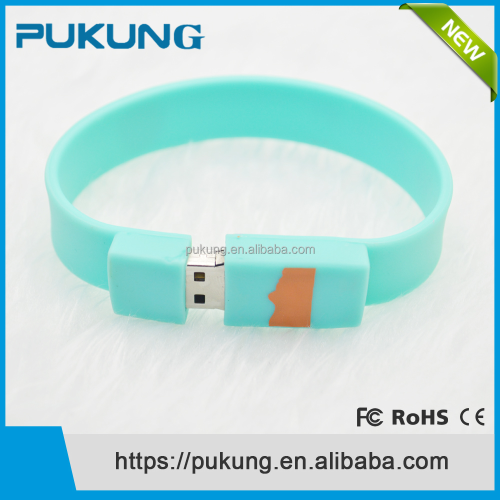 2016 Wholesale Customized Logo Silicone Wrist Band Bracelet USB 2.0 Flash Drive Pen Drive Memory Stick Thumb Drive 1GB 2GB 4GB
