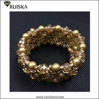 Handwoven Crystal Beads Pearl Bracelets 2015 Fashion Women Jewelry