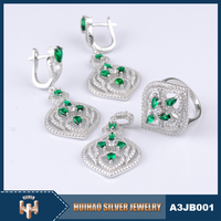 2016 New elegant design micro pave setting sterling silver 925 wholesale jewelry set