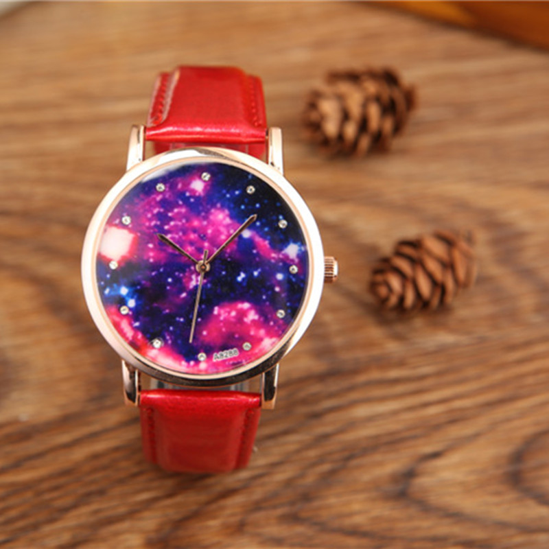 2017 China Supplier Wholesale Creative Hands Watches Fancy Night Sky Dial Leather Quartz Analog Wristwatche For Women A8288