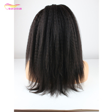 150% density pre plucked hairline natural color lace front brazilian remy human wig with baby hair african american