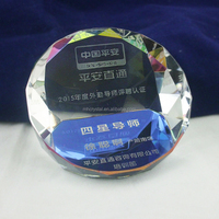 Rainbow Crystal Duet Round Paperweight MH-F0521